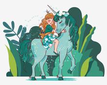 Cute Princess Girl With Unicorn