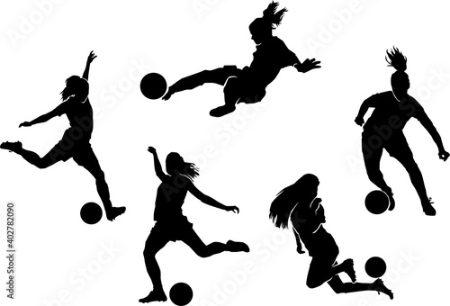 female soccer player silhouette Fotobehang