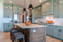 Kitchen Island With Cushioned Stools Inside Home Kitchen With Built In Cabinets