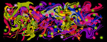 Graffity With Abstract Bright Multycolor Pattern Layered Eps10 Vector Illustration Isolated On Black Background.