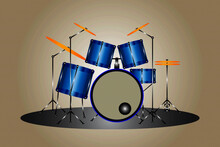 Blue Drum Kit Online Music Store Category Icon Vector Illustration No Person