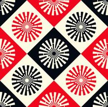 Asian Symbols Seamless Ivory Red Black