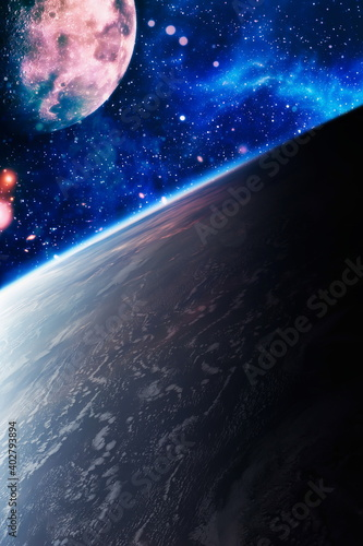 Fototapety, obrazy: Chaotic space background. Planets, stars and galaxies in outer space showing the beauty of space exploration. The elements of this image furnished by NASA.