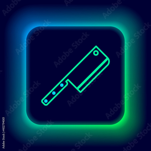 Tela Glowing neon line Meat chopper icon isolated on black background