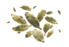 Cardamom Pods Levitate On A White Background
