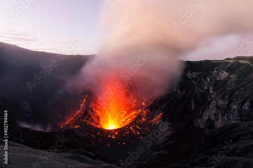 Fotografiet Lava in the crater of Dukono volcano, Halmahera, Indonesia