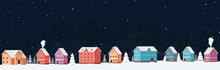Winter Cityscape At Night With Snow Among Snowdrifts And Christmas Trees With Festive Garlands. Snowy Panorama City Eve New Year's Holidays.