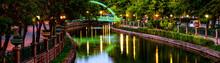 The Illuminated Bridges Over River. Great Night View. Long Exposure At Night. Panoramic Shot. High Resolution Sharp Photo. Panorama Banner.