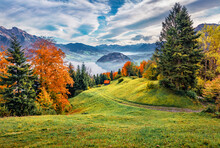 Beautiful Autumn Scenery. Attractive Morning View Of Outskirts Of  Stansstad Town, Switzerland, Europe. Exciting Autumn Scene Of  Lucerne Lake, Swiss Alps. Landscape Photography..