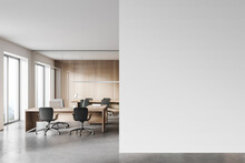 Wooden Open Space Office And Meeting Room With Mock Up Wall