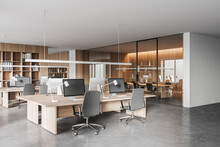 Wooden And White Open Space Office Corner