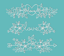 Elements Decorated With Flowers. Templates For Decoration. Elements For Cutting Paper, Plotter Or Laser Cutting.