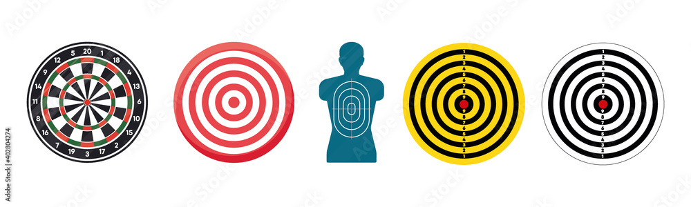Fototapeta Big set target isolated icons. Targets for shooting. Dartboard icons. Various various arrow board modern icon set on white background.