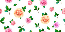 Floral Seamless Pattern With Blooming Pink And Yellow Rose Flowers, Green Leaves On White Background. Spring Blossom Nature Repeat Texture Design. Autumn Or Summer Blossom Roses Elegant Chintz Pattern
