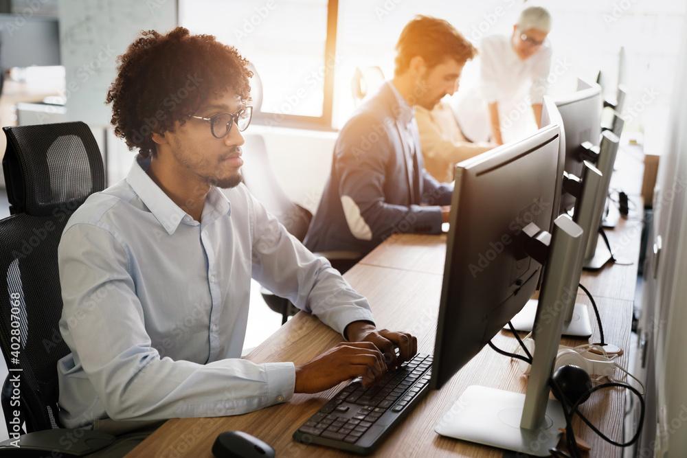 Fototapeta Programmer working in a software developing company