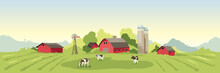 Abstract Rural Landscape With Farm House. Vector Illustration, Fields And Meadows And Cow.