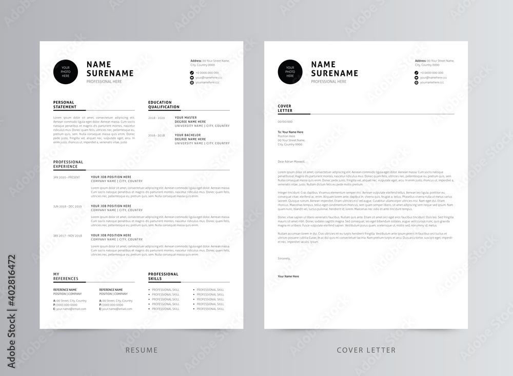 Fototapeta Clean And Modern Resume/CV Template Design