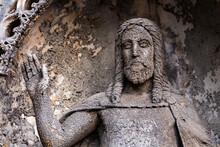 Historic Jesus On The Winter Mystery Old Prague Cemetery, Czech Republic
