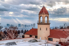 Church Rooftop And Bell Tower With Panoramic View Of Salt Lake City Downtown
