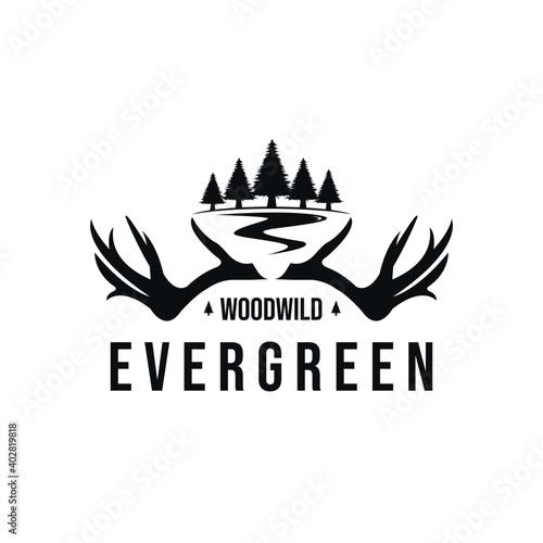 Obraz na plátně evergreen and antlers logo design, vintage style
