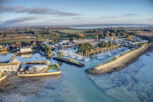 Emsworth Yacht Harbour Aerial View Showing The Marina And The Protected Entrance With Reflections In The Water.