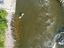 Pathway For Kayakers Training In River Vltava (Moldau) In Prague - Troja