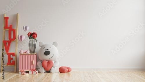 Fotografie, Obraz Valentine room modern interior have doll and home decor for valentine's day
