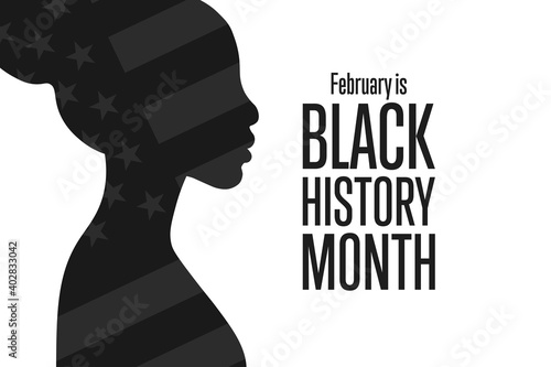 Obraz February is National Black History Month. Holiday concept. Template for background, banner, card, poster with text inscription. Vector EPS10 illustration. - fototapety do salonu