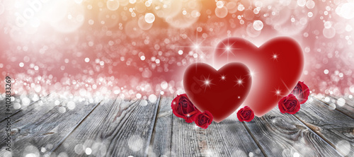 Two hearts and roses on a wooden background and white bokeh for Valentine's Day Wallpaper Mural