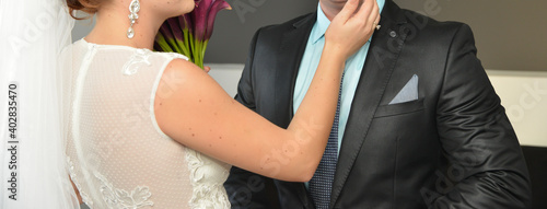 bride and groom together Wallpaper Mural