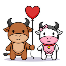 Cute Couple Cow Romance In Valentine's Day