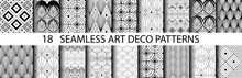Set Of 18 Art Deco Patterns In Different Black And White Geometric Shapes. Great For Textiles, Wrapping Paper, Tiles And Backgrounds. EPS10
