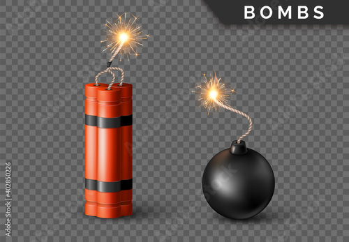 Fototapeta Dynamite Bomb with Burning Wick and black sphere bomb