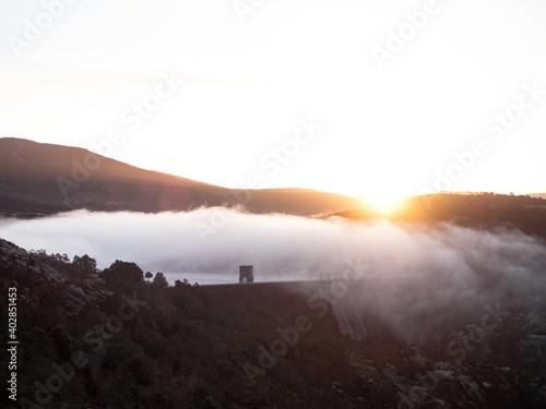 Canvas Print Aerial sunrise panorama of dam above Cascada de Ezaro waterfall Xallas Jallas ri