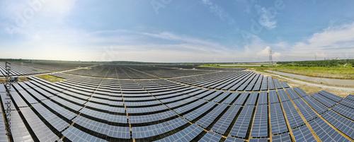 Billede på lærred Aerial view of a new solar farm
