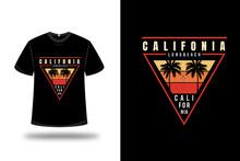 T-shirt California Long Beach Color Yellow And Orange