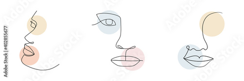 One line woman drawing face set. Minimalism art. Female contour portraits collection. Continuous line vector illustration isolated on white background - fototapety na wymiar