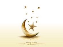 Islamic Greeetings Card Design Ramadan Kareem With Beautiful Crescent Moon