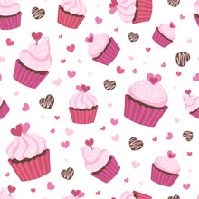 Seamless Surface Repeat Vector Pattern Design With Fluffy Pink Cupcakes In Pink And Red Cups On White Background With Little Brown, Pink And Red Hearts Suitable For Valentine's Day, Weddings And More