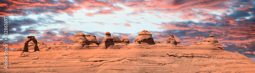 Fototapeta Delicate Arch panoramic view, Arches National Park
