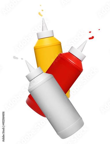 Fototapeta Flying mayonnaise, ketchup and mustard plastic bottles, isolated on white background obraz