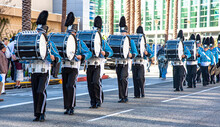 Marching Band With Drums Dressed In Blue