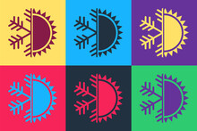 Pop Art Hot And Cold Symbol. Sun And Snowflake Icon Isolated On Color Background. Winter And Summer Symbol. Vector.