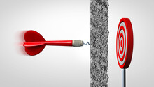 Obstacle And Adversity As A Dart Facing A Wall And Overcoming Obstacles As Concrete Blocking A Target As A Metaphor For Problems And Challenges For Business