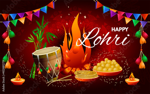 Lohri Festival in India. Colorful illustration with wishes for a happy Lohri holiday. Vector image.