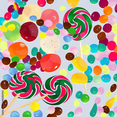 Kolorowe słodycze cukierki lizaki ilustracja