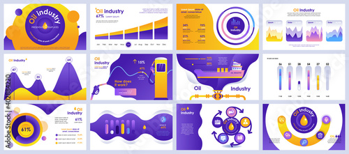 Fotografia, Obraz Oil industry presentation slides templates from infographic elements and vector illustration