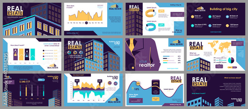 Fototapeta Real estate presentation slides templates from infographic elements and vector illustration. Can be used for presentation real estate agency, brochure, marketing, annual report, banner, booklet. obraz