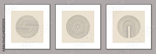 Obraz Trendy set of abstract creative minimal artistic hand sketched compositions - fototapety do salonu