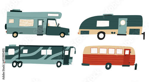 Fotografiet Collection set of camper trailers and rv bus isolated on white background